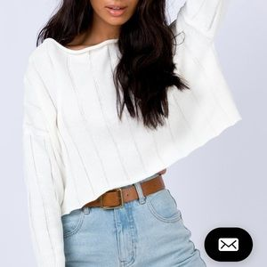 NWOT princess polly white cropped sweater